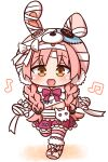1girl :d absurdres animal_ears animal_hat bandaged_arm bandaged_hands bandages bangs beamed_eighth_notes blush bow braid brown_eyes bunny_hair_ornament bunny_hat chibi commentary_request eighth_note eyebrows_visible_through_hair fake_animal_ears full_body hair_ornament hana_kazari hat highres long_hair looking_at_viewer low_twintails mimi_(princess_connect!) musical_note navel open_mouth parted_bangs pink_footwear pink_hair pink_headwear pleated_skirt princess_connect! princess_connect!_re:dive purple_bow purple_skirt rabbit_ears skirt smile solo striped striped_legwear thigh-highs twin_braids twintails very_long_hair walking white_background