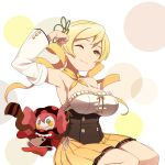 1girl adapted_costume arm_up armpits blonde_hair breasts charlotte_(madoka_magica) circle detached_sleeves drill_hair large_breasts looking_at_viewer mahou_shoujo_madoka_magica one_eye_closed orange_skirt pleated_skirt sitting skirt smile solo strapless tomoe_mami twin_drills user_mnyf4235 yellow_eyes