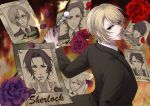 1boy albert_james_moriarty blonde_hair can character_name flower formal fred_porlock fumizuki_ayako john_h._watson looking_at_viewer louis_james_moriarty male_focus poster red_eyes sebastian_moran_(yuukoku_no_moriarty) sherlock_holmes_(yuukoku_no_moriarty) solo suit upper_body william_james_moriarty yuukoku_no_moriarty