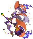 1girl bespectacled bloomers broom broom_riding candy cape chocolate chocolate_heart cookie disgaea disgaea_rpg elbow_gloves finger_to_face food full_body glasses gloves hat heart jack-o'-lantern long_hair majorita_(disgaea) navel official_art pink_eyes pointy_ears pointy_footwear rimless_eyewear simple_background solo striped striped_gloves striped_legwear thigh-highs tongue tongue_out twintails underwear white_background wrist_cuffs