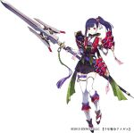 1girl aegis_(persona) armor belt black_footwear black_gloves closed_mouth eyebrows_visible_through_hair fingerless_gloves fuyuno_yuuki gloves holding holding_polearm holding_spear holding_weapon japanese_clothes official_art partially_fingerless_gloves patterned patterned_clothing pauldrons polearm ponytail purple_hair sennen_sensou_aigis shoulder_armor side_ponytail simple_background smile solo spear talisman thigh-highs thigh_strap violet_eyes weapon white_background white_legwear