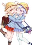 2girls ;d ;t ahoge ai_hua_hua_de_tianxian_baobao alternate_costume backpack bag bag_charm black_footwear blonde_hair blue_shirt blue_skirt blush boots brown_footwear charm_(object) closed_mouth collared_shirt feathers genshin_impact hair_ornament hat hat_feather highres hug kindergarten_uniform klee_(genshin_impact) knee_boots kneehighs long_hair low_twintails multiple_girls ofuda one_eye_closed open_mouth pleated_skirt pointy_ears purple_hair qiqi red_eyes red_skirt ribbed_legwear school_hat shirt shoes shoulder_bag sidelocks simple_background skirt smile standing standing_on_one_leg thigh-highs twintails violet_eyes white_background white_feathers white_legwear white_shirt yellow_headwear