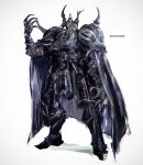 1boy armor black_armor black_cape cape final_fantasy final_fantasy_iv gauntlets glowing glowing_eye golbeza helmet k-suwabe pauldrons shoulder_armor simple_background solo spikes tall twitter_username