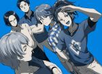 5boys :d akiyama_hiroyuki animal_print arm_hair arm_up bangs belt bird_print black_hair blue_background blue_eyes blue_shirt blue_theme bracelet chest_hair closed_mouth collared_shirt commentary crossed_arms dog_tags facial_hair glasses hair_between_eyes hand_on_hip happy haru_(no_thank_you!!!) high_ponytail inui_kouichi jewelry kurosawa_ryuu long_sleeves looking_at_viewer maki_(no_thank_you!!!) male_focus multiple_boys no_thank_you!!! open_mouth pants plaid plaid_shirt print_shirt salute sayshownen shiny shiny_hair shirt shirt_tucked_in short_hair short_sleeves silver_hair simple_background smile striped striped_shirt stubble
