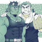 2boys bara bare_arms bare_shoulders black_tank_top blue_theme character_request chest chest_hair chest_scar covered_abs covered_nipples ezaki_papiko facial_hair hand_on_another's_shoulder highres horns male_focus multiple_boys muscle red_oni_(tokyo_houkago_summoners) scar scar_across_eye short_hair sideburns stubble tank_top thick_eyebrows tokyo_houkago_summoners upper_body