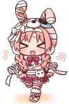 >_< 1girl :d absurdres animal_ears animal_hat bandaged_arm bandaged_hands bandages bangs beamed_eighth_notes blush bow braid bunny_hair_ornament bunny_hat chibi closed_eyes eighth_note eyebrows_visible_through_hair facing_viewer fake_animal_ears full_body hair_ornament hana_kazari hat highres long_hair low_twintails mimi_(princess_connect!) musical_note navel open_mouth parted_bangs pink_footwear pink_hair pink_headwear pleated_skirt princess_connect! princess_connect!_re:dive purple_bow purple_skirt rabbit_ears skirt smile solo striped striped_legwear thigh-highs twin_braids twintails very_long_hair walking white_background xd