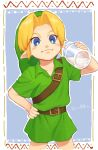 1boy belt belt_buckle blonde_hair blue_background blue_eyes bottle brown_belt buckle closed_mouth commentary_request cowboy_shot green_headwear hand_on_hip hat highres holding looking_at_viewer male_focus milk outline pointy_ears raji_(aranmax) shirt short_sleeves smile solo the_legend_of_zelda the_legend_of_zelda:_ocarina_of_time white_outline young_link