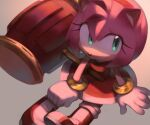 1girl amy_rose animal_nose boots dress furry gloves green_eyes hairband hammer jewelry looking_to_the_side piko_piko_hammer qiinamii red_dress red_footwear red_hairband ring shadow solo sonic_the_hedgehog white_gloves