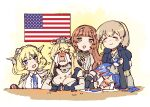 5girls bitchcraft123 black_gloves blonde_hair blue_eyes blue_neckwear braid breasts brown_eyes brown_hair capelet closed_eyes colorado_(kantai_collection) commentary crying dress elbow_gloves english_commentary garrison_cap gloves grey_headwear hat headgear helena_(kantai_collection) intrepid_(kantai_collection) iowa_(kantai_collection) kantai_collection large_breasts long_hair long_sleeves multiple_girls necktie open_mouth shirt short_hair short_sleeves side_braids sleeveless smile south_dakota_(kantai_collection) streaming_tears sweatdrop tears white_shirt