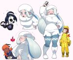2boys 2girls ahoge allister_(pokemon) alternate_color arm_ribbon arm_up black_hair black_hoodie blue_eyes blush boots breasts closed_eyes closed_mouth commentary_request dark_skin dark_skinned_male expedition_uniform fang flying_sweatdrops fur_hat gen_4_pokemon gloves gym_leader hand_on_hip hat helmet highres hood hoodie jacket legwear_under_shorts long_hair long_sleeves mask mature melony_(pokemon) mira_(miramita8727) multicolored_hair multiple_boys multiple_girls pants pantyhose partially_fingerless_gloves plump pokemon pokemon_(game) pokemon_swsh raihan_(pokemon) red_ribbon ribbon rotom rotom_phone scarf short_hair shorts single_glove smile streaked_hair sweater teeth white_footwear white_headwear white_scarf white_sweater yellow_headwear yellow_jacket yellow_pants