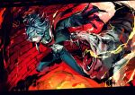 1boy animal blue_hair brick brick_wall claws clenched_hand edmond_dantes_(fate/grand_order) fate_(series) gankutsuou glowing glowing_eye grin highres male_focus nexie open_mouth parted_lips sharp_teeth smile teeth tiger tongue tongue_out white_tiger