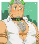 1boy abs animal_ears bara bare_shoulders blush bursting_pecs chest chest_hair dog_ears facial_hair goatee gomeisa_(live_a_hero) green_eyes grey_hair live_a_hero looking_at_viewer male_focus muscle short_hair sleeveless solo stubble tattoo tribal_tattoo upper_body wardrobe_malfunction yanutorie