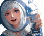 1girl absurdres blue_eyes bottle close-up darr1o english_text gawr_gura highres holding holding_bottle hololive hololive_english looking_up open_mouth realistic sharp_teeth solo subtitled teeth virtual_youtuber water_bottle white_background white_hair