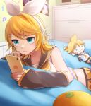 1girl aqua_eyes bare_shoulders bedroom blonde_hair bow cellphone collarbone detached_sleeves focused food fruit hair_bow hair_ornament hairclip headphones headset highres holding holding_phone kagamine_rin lying on_bed on_stomach orange phone poster_(object) sailor_collar serious shelf shirt short_hair shorts sleeveless sleeveless_shirt solo soramame_pikuto stuffed_toy sweatdrop vocaloid