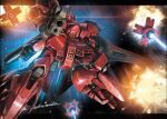 akamiho battle beam_rifle char's_counterattack commentary_request energy_gun explosion firing funnels glowing glowing_eye gundam highres mecha no_humans red_eyes sazabi shield signature solo space twitter_username weapon zero_gravity