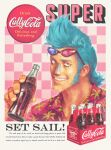 1boy absurdres aqua_hair catchphrase checkered checkered_background chromatic_aberration cola english_text eyewear_on_head fake_ad franky hawaiian_shirt highres male_focus one_piece parody portrait shirt skull_and_crossbones smile soda_bottle solo sunglasses vinutun