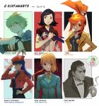 2boys 4girls amami_rantarou amano_maya black_hair breasts character_name chidouin_sara closed_mouth copyright_name crossover danganronpa english_commentary eyepatch formal from_side ghost_trick green_hair grin hair_flaps highres jacket katsuragi_misato kimi_ga_shine long_hair looking_at_viewer lynne majima_gorou multiple_boys multiple_crossover multiple_girls neon_genesis_evangelion new_danganronpa_v3 orange_hair persona persona_2 ponytail purple_hair qosic red_headwear red_jacket ryuu_ga_gotoku ryuu_ga_gotoku_0 serious short_hair six_fanarts_challenge smile suit thought_bubble upper_body