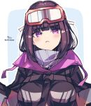 1girl :< bangs black_hair black_jacket blue_background blush breasts closed_mouth commentary_request eyebrows_visible_through_hair fate/grand_order fate_(series) goggles goggles_on_head high_collar highres jacket long_hair medium_breasts osakabe-hime_(fate/grand_order) outline signature ski_goggles sofra solo twitter_username two-tone_background upper_body violet_eyes white_background white_outline
