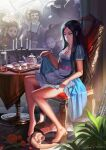 alice:_madness_returns alice_(wonderland) alice_in_wonderland american_mcgee's_alice bioshock black_hair breasts closed_mouth crossover doll dress feet inoi jewelry jupiter_symbol long_hair looking_at_viewer multiple_boys multiple_girls necklace smile