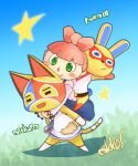 1boy 2girls animal_crossing animal_ears arm_up artist_name bangs bare_shoulders barefoot belt blue_background blue_dress blue_eyes blue_neckwear blue_outline blue_sky blunt_bangs blush blush_stickers boots bottomless bow brown_footwear bunny_tail carrying cat_boy cat_ears cat_tail closed_eyes closed_mouth commentary_request day domino_mask dress full_body furry gradient gradient_background gradient_sky grass green_eyes hair_bow happy highres hug hug_from_behind kanzaki_akira_(akk9s) leaning_forward legs_apart long_sleeves looking_at_another looking_down mask mira_(animal_crossing) multiple_girls necktie off_shoulder open_mouth outdoors outline pantyhose piggyback pinafore_dress pink_bow pink_hair pink_shirt rabbit_ears rabbit_girl red_legwear shirt short_hair sideways_mouth signature sky sleeveless sleeveless_shirt smile standing star_(symbol) stinky_(animal_crossing) tail villager_(animal_crossing) white_shirt