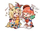 2girls :d absurdres animal_ears blonde_hair chibi crying detached_sleeves fox_ears green_hair hair_ornament hakamii hat highres hololive hololive_english jester_cap laughing long_hair long_sleeves mismatched_legwear multicolored_hair multiple_girls omaru_polka open_mouth orange_hair rubber_chicken seiza simple_background sitting smile symbol_commentary takanashi_kiara twitter_username two-tone_hair violet_eyes white_background x_hair_ornament