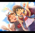 2boys :d antenna_hair arms_up ash_ketchum bangs black-framed_eyewear black_hair brown_hair cape chitozen_(pri_zen) clenched_hand closed_eyes commentary_request dynamax_band eyelashes fur-trimmed_cape fur_trim goh_(pokemon) hair_ornament male_focus multiple_boys open_mouth orange-tinted_eyewear pokemon pokemon_(anime) pokemon_swsh_(anime) red_cape shirt short_sleeves sleeveless sleeveless_jacket smile sunglasses teeth tongue w white_shirt