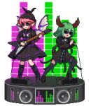 2girls alternate_costume animal_ears bangs bird_wings black_dress black_footwear black_headwear black_legwear boots cable choujuu_gigaku dog_ears dog_tail dress ears_up electric_guitar english_commentary eyebrows_visible_through_hair fang feathered_wings full_body green_hair guitar hands_up hat holding holding_instrument holding_microphone instrument juliet_sleeves kasodani_kyouko knee_boots loafers long_sleeves loudspeaker lowres microphone mob_cap multiple_girls music mystia_lorelei open_mouth pink_hair pixel_art playing_instrument pocket podium puffy_sleeves shoes short_hair sidelocks singing sunglasses tail the_hammer thigh-highs touhou transparent_background white_wings winged_hat wings zettai_ryouiki