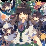 2girls arms_up black_wings blush blush_stickers bow brown_eyes brown_hair cape chibi closed_eyes commentary_request control_rod egg eggshell eggshell_hat eyes feathered_wings green_bow green_skirt hair_bow hatching highres kaenbyou_rin kaenbyou_rin_(cat) long_hair multiple_girls multiple_tails multiple_views nikorashi-ka open_mouth outstretched_arms paw_print puffy_short_sleeves puffy_sleeves reiuji_utsuho shirt short_sleeves skirt smile star_(symbol) star_print sun_(symbol) tail third_eye touhou triangle_mouth two_tails white_cape white_shirt wings