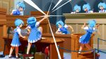 (9) 6+girls alternate_hairstyle antinoya arch bangs bird birdcage blouse blue_bow blue_dress blue_eyes blue_hair book bow box brown_footwear cage camera cirno closed_mouth coin courtroom cravat desk_slam dress english_commentary folder full_body gavel glint gyakuten_saiban hair_between_eyes hair_bow highres ice ice_wings kangaroo metal_detector multiple_girls open_mouth paper parody parrot pinafore_dress podium pole puffy_short_sleeves puffy_sleeves red_ribbon ribbon rope safe_(container) shiny shiny_hair shoes short_hair short_sleeves smile socks standing standing_on_desk surprised tile_floor tiles touhou upper_body vial white_blouse white_legwear white_neckwear wig wing_collar wings
