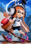 1girl absurdres bike_shorts blue_sky chamu_(chammkue) clouds day domino_mask goo_tuber_(splatoon) headphones highres huge_filesize ink_tank_(splatoon) inkling legs_apart long_hair mask open_mouth orange_eyes orange_hair outdoors paint pigeon-toed pink_footwear shirt shoelaces shoes short_sleeves sky sneakers solo splatoon_(series) splatoon_2 standing suction_cups t-shirt teeth tentacle_hair twitter_username very_long_hair white_shirt