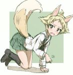 1girl all_fours animal_ears artist_name black_footwear black_neckwear blonde_hair blouse blush boots brown_eyes colored_pencil_(medium) commentary erakin erwin_(girls_und_panzer) fake_animal_ears fake_tail fox_ears fox_tail frown girls_und_panzer green_background green_skirt highres long_sleeves looking_at_viewer miniskirt neckerchief no_hat no_headwear no_jacket ooarai_school_uniform open_mouth outside_border pleated_skirt pointy_hair sailor_collar school_uniform serafuku shadow short_hair signature sketch skirt solo standing sweatdrop tail traditional_media white_blouse white_sailor_collar