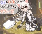 >:) /\/\/\ 1girl :3 =3 aardwolf_(kemono_friends) aardwolf_ears aardwolf_print aardwolf_tail afterimage animal_ears bare_shoulders beckoning black_hair black_neckwear black_shorts blush_stickers breast_pocket closed_mouth collared_shirt cutoffs elbow_gloves extra_ears eyebrows_visible_through_hair full_body gloves grey_eyes grey_hair hair_between_eyes hay high_ponytail highres indoors kemono_friends kneeling leaning_to_the_side legwear_under_shorts long_hair looking_at_viewer multicolored_hair necktie outstretched_arm pantyhose pillow pocket print_gloves print_legwear print_shirt shirt shoes shorts sleeveless sleeveless_shirt smile solo striped tail translation_request two-tone_hair v-shaped_eyebrows wing_collar wonderful_waon