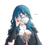 1girl 2019 blue_eyes blue_hair breasts byleth_(fire_emblem) byleth_(fire_emblem)_(female) byleth_eisner_(female) cute dated drinking drinking_cup elbow_gloves eulogist female_focus female_my_unit_(fire_emblem:_fuukasetsugetsu) fire_emblem fire_emblem:_fuukasetsugetsu fire_emblem:_three_houses fire_emblem_16 garreg_mach_monastery_uniform intelligent_systems medium_hair my_unit_(fire_emblem:_fuukasetsugetsu) nintendo simple_background solo tea