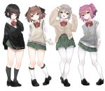 4girls :d bangs black_footwear black_hair black_ribbon blue_eyes blush bow bowtie brown_hair cardigan closed_mouth commentary_request eyebrows_visible_through_hair full_body green_eyes green_skirt hachijou_(kantai_collection) hair_ornament hair_ribbon highres inorin05kanae ishigaki_(kantai_collection) kantai_collection kneehighs kunashiri_(kantai_collection) loafers long_sleeves looking_at_viewer multiple_girls open_mouth pantyhose pleated_skirt red_bow red_neckwear ribbon school_uniform shimushu_(kantai_collection) shirt shoes short_hair skirt sleeves_past_wrists smile standing sweater_vest two_side_up violet_eyes white_background white_legwear white_shirt