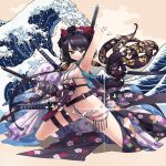1girl absurdres arm_up armpits bangs bikini blue_eyes breasts closed_mouth commentary diffraction_spikes eyebrows_visible_through_hair fate/grand_order fate_(series) floral_print goggles goggles_on_head highres holding holding_sword holding_weapon katana katsushika_hokusai_(swimsuit_saber)_(fate) kneeling looking_at_viewer medium_breasts mount_fuji multiple_swords navel o-ring o-ring_bikini object_behind_back octopus oshiri_seijin purple_hair shadow short_hair smile solo splashing string_bikini swimsuit sword thigh_strap waist_cape waves weapon white_bikini