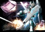 akamiho axis_(gundam) battle beam_rifle char's_counterattack commentary_request energy_gun explosion fin_funnels firing funnels glowing glowing_eyes green_eyes gundam mecha no_humans nu_gundam shield signature solo space twitter_username v-fin weapon zero_gravity