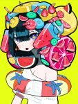 +_+ 1girl bangs black_hair blue_eyes blunt_bangs blunt_ends blush cherry_earrings earrings food food_on_head food_themed_earrings fork fruit fruit_on_head highres innertube jewelry kiwi_slice lemon lemon_slice muzinneki object_on_head off-shoulder_shirt off_shoulder open_mouth original shirt short_hair simple_background solo starfish strawberry transparent upper_body watermelon white_shirt yellow_background