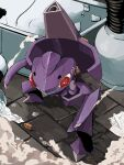 commentary full_body gen_5_pokemon genesect highres legs_apart mythical_pokemon no_humans number paper pokemon pokemon_(creature) red_eyes smile smoke solo standing teeth yuyu_ekaki_dayo