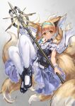 1girl absurdres animal_ears arknights bare_shoulders black_footwear blonde_hair blue_dress blue_headband blush braid braided_ponytail commentary dress earpiece floating footwear_request fox_ears fox_tail frilled_dress frills headband highres holding holding_staff holding_weapon kitsune kyuubi looking_at_viewer multicolored_hair multiple_tails oripathy_lesion_(arknights) pantyhose pouch short_hair smile solo staff suzuran_(arknights) tail taku57 torn_clothes torn_legwear weapon white_hair white_legwear yellow_eyes