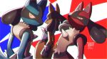 alternate_color arched_back closed_mouth commentary_request gen_4_pokemon grey_sclera highres light_frown looking_at_viewer looking_back lucario pokemon pokemon_(creature) repost_notice shiny shiny_pokemon spikes watermark yellow_fur yukifuri_tsuyu