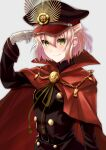 1girl absurdres alternate_costume belt black_belt black_headwear black_jacket blonde_hair cape cosplay family_crest fate/grand_order fate_(series) hat highres jacket long_sleeves military military_hat military_uniform nida_keita oda_nobunaga_(fate) oda_nobunaga_(fate)_(all) oda_nobunaga_(fate)_(cosplay) oda_uri okita_souji_(fate) okita_souji_(fate)_(all) peaked_cap red_cape smile solo uniform upper_body yellow_eyes