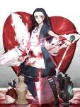1girl alice:_madness_returns alice_(wonderland) alice_in_wonderland american_mcgee's_alice apron black_hair blood boots closed_mouth cro328 dress green_eyes highres jewelry knife long_hair looking_at_viewer necklace pantyhose rabbit solo striped striped_legwear teapot