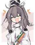 +++ 1girl black_headwear blush closed_eyes commentary_request fang grey_hair hand_up hat high_collar highres japanese_clothes kariginu long_hair mamimu_(ko_cha_22) mononobe_no_futo open_mouth ponytail skin_fang sleeves_past_fingers sleeves_past_wrists smile tate_eboshi touhou upper_body