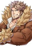 1boy bara beard blue_eyes brown_hair chest coat collarbone collared_shirt cropped_torso crossed_arms ezaki_papiko facial_hair fur-trimmed_coat fur_trim guilty_gear guilty_gear_strive leo_whitefang muscle shirt short_hair smirk solo thick_eyebrows white_background