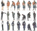 3boys ^_^ armor bandages belt black_gloves black_hair black_pants boots brown_hair cat closed_eyes collared_shirt dressing glasses gloves grin highres hizen_tadahiro japanese_armor japanese_clothes katana kimono knee_boots kote male_focus mouth_hold multicolored_hair multiple_boys mutsu-no-kami_yoshiyuki nankaitarou_chouson pants redhead sandals sheath sheathed shirt shoulder_armor smile sode sunagoke sword touken_ranbu two-tone_hair weapon