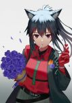 1girl absurdres animal_ear_fluff animal_ears arknights bangs black_hair black_jacket bouquet cigarette commentary_request flower gloves gradient gradient_background grey_background grey_neckwear hair_between_eyes hand_up highres jacket long_hair long_sleeves looking_at_viewer mouth_hold necktie official_alternate_costume petals purple_flower red_eyes red_gloves red_shirt shirt solo syouko_jiaozijun texas_(arknights) texas_(willpower)_(arknights) upper_body wolf_ears