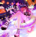 1girl afloat arisugawa_natsuha bare_legs bikini black_bikini black_eyes blurry blurry_background building chair city_lights cocktail_umbrella commentary crossed_legs double_bun dutch_angle earrings frilled_bikini frilled_garter_belt frills garter_belt garter_straps headdress highres hurricane_glass idolmaster idolmaster_shiny_colors innertube irururutan jewelry lipstick long_hair lounge_chair makeup nail_polish neon_lights night outdoors palm_tree platform_footwear pool red_nails redhead sandals solo swimsuit toenail_polish tray tree tropical_drink water