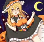 1girl armband bangs black_capelet black_dress black_headwear blonde_hair bow braid breasts candy candy_cane capelet crescent_moon dress dress_lift eyebrows_visible_through_hair food guard_vent_jun hair_between_eyes halloween halloween_costume hat hat_bow highres jack-o'-lantern kirisame_marisa lollipop long_hair looking_at_viewer moon night open_mouth orange_bow red_bow single_braid sky smile solo star_(sky) starry_sky thighs touhou witch_hat yellow_eyes