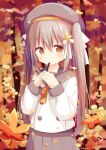 1girl autumn_leaves bangs beret blurry blurry_background bow brown_bow brown_eyes brown_hair closed_mouth commentary_request depth_of_field eyebrows_visible_through_hair grey_headwear grey_sailor_collar grey_skirt hair_between_eyes hair_bow hands_together hands_up hat highres holding holding_pencil leaf long_hair long_sleeves maple_leaf mechanical_pencil nakkar original own_hands_together pencil pleated_skirt sailor_collar school_uniform serafuku shirt skirt smile solo twintails very_long_hair white_bow white_shirt