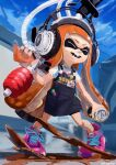 1girl :d ^_^ absurdres apron bike_shorts black_apron blue_sky can chamu_(chammkue) closed_eyes clouds day domino_mask goo_tuber_(splatoon) headphones highres holding holding_can huge_filesize ink_tank_(splatoon) inkling legs_apart long_hair mask open_mouth orange_hair outdoors paint pen pigeon-toed pin pink_footwear pocket shirt shoelaces shoes short_sleeves sky smile smiley_face sneakers solo splatoon_(series) splatoon_2 standing suction_cups t-shirt teeth tentacle_hair twitter_username very_long_hair white_shirt
